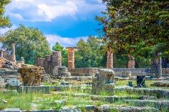Die Ruinen der alten Olympia, Griechenland Findet hier die Note der olympischen Flamme statt stockfotografie