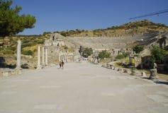 Die Ruinen der römischen Stadt von Ephes, in der Türkei Lizenzfreies Stockfoto
