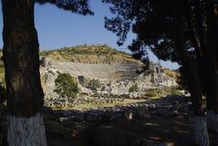 Die Ruinen der römischen Stadt von Ephes, in der Türkei Lizenzfreie Stockfotos