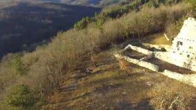 Die Ruinen des alten Schlosses von der Luft stock video