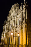 Die Ruinen von St- Paul` s in Macau, Nachtzeit Lizenzfreie Stockbilder
