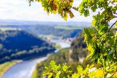 Die sächsische Schweiz Ansicht von der Abtei Bastei Herbstfarben bei Bastei, Dresden-Bereich Lizenzfreies Stockbild