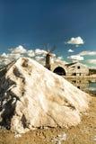 Die Salzpfannen von Nubia nahe Trapani (Sizilien) stockbilder