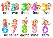 Die Sammlung der Zahl mit dem Affen dazu mit der unterschiedlichen Aufstellung stockfotos