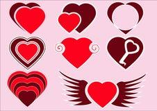 Die Sammlung von roten Herzen Stockbilder