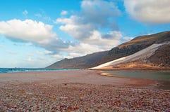 Die Sanddünen im Schutzgebiet von Archer, Socotrainsel, der Jemen Lizenzfreie Stockfotos