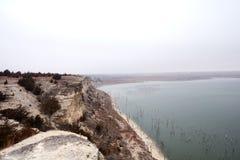 Die Sandsteinklippen Cedar Bluff Reservoirs Lizenzfreie Stockbilder