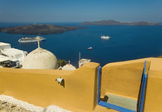 Die Santorini-Kesselansicht Stockfotografie
