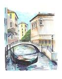 Die schöne Ansicht bis einen der venetianischen Kanäle lizenzfreie abbildung