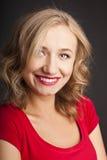 Die schöne blonde Frau mit rotem Lippenstift Lizenzfreies Stockbild