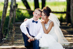 Die schöne Braut und der Bräutigam Lizenzfreie Stockbilder