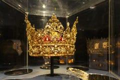 Die schöne Goldkronenanzeige im berühmten Rosenborg-Schlitz lizenzfreies stockfoto