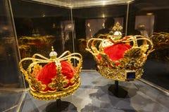 Die schöne Goldkronenanzeige im berühmten Rosenborg-Schlitz stockbilder