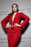 Die schöne junge sexy Brunettefrau, die stilvolles Design der roten Jacke und modernes Kostüm mit Juwel, beige Fersen trägt, besc Stockfotografie