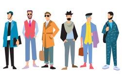 Die schöne Kleidung der jungen Männer in Mode, Vektor Stockfotos
