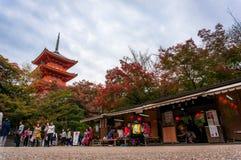 Die schöne Landschaft von Kiyomizu-Tempel in Kyoto Lizenzfreies Stockbild