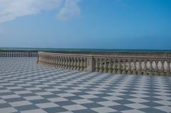 Die schöne mascagni Terrasse in Livorno, Italien Lizenzfreies Stockfoto