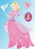 Die schöne Prinzessin im wundervollen rosafarbenen Kleid Stockbilder