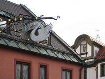 Die Schönheit der alten und inländischen Architektur der kleinen deutschen Stadt von Fussen lizenzfreie stockfotos