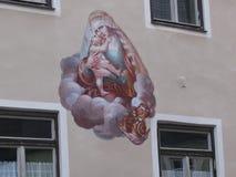 Die Schönheit der alten und inländischen Architektur der kleinen deutschen Stadt von Fussen stockfotos