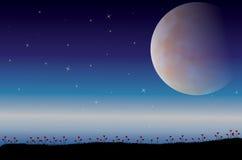 Die Schönheit des Mondes in der Natur, Vektorillustrationen gestalten landschaftlich Lizenzfreies Stockfoto