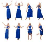 Die Schönheit im langen blauen Kleid lokalisiert auf Weiß lizenzfreies stockfoto