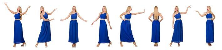 Die Schönheit im langen blauen Kleid lokalisiert auf Weiß Stockbild