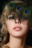 Die Schönheit mit Federn eines Pfaus Lizenzfreie Stockfotografie