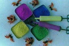 Die Schüssel der Farben und der Neigungen auf dem Holi-Festival stockfotografie