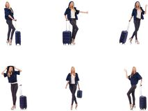 Die Sch?nheit mit Koffer im Ferienkonzept lizenzfreies stockbild