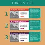 Die Schablone für die Liste der drei Schritte Lizenzfreie Stockfotografie