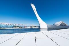 Die Schale der olympischen Flamme im Olympiagelände Stockbild