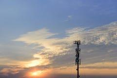 Die Schattenbildszene des Antennenmasts Lizenzfreie Stockbilder