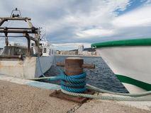 Die Schiffe machten im Hafen, Palamos, Costa Brava, Spanien fest Lizenzfreie Stockfotos