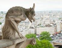 Die Schimäre und die Ansicht Notre-Dame-Kathedrale von Paris frankreich Lizenzfreies Stockbild