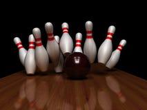 Die Schläge mit Bowlingspielkugel Stockbild