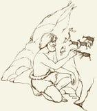 Die Schlangejagd im Labyrinth Ursprünglicher Mann zeichnet auf Steinwand der Höhle Stockbild