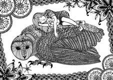 Die Schleiereule, das Mädchen und das Muster Stockbilder