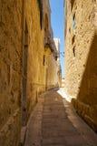 Die schmale Straße von Mdina, die alte Hauptstadt von Malta Stockbild