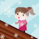 Die Schnee- und Mädchenikone, die für irgendwelche groß ist, verwenden Vektor eps10 stock abbildung