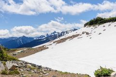 Die schneebedeckten Flanken vom Mount Rainier lizenzfreie stockbilder