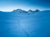 Die schneebedeckten Spitzen der Sesvenna-Gebirgsgruppe hinter einem Hügelesprit Stockfotos