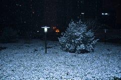 Die Schneefälle in der Nacht Stockfoto
