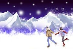Die Schneelandschaft, welche die Welt bedeckt, Paar reisen - grafische Malereibeschaffenheit Lizenzfreie Stockbilder