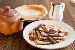 Die Schokoladenpfannkuchen Stockfotografie