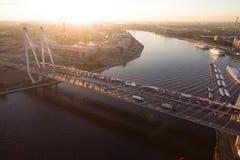 Die Schrägseilbrücke bei Sonnenuntergang Stockfoto