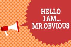 Die Schreibensanmerkung, die hallo bin mich zeigt Herr offensichtlich Geschäftsfoto, das als pouplar oder Berühmtheit Megaphon vo stockbild