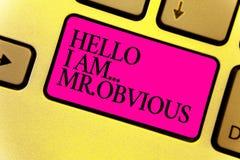 Die Schreibensanmerkung, die hallo bin mich zeigt Herr offensichtlich Geschäftsfoto, das als pouplar oder Berühmtheit Tastatur vo lizenzfreie stockfotos