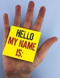 Die Schreibensanmerkung, die hallo meinen Namen zeigt, ist Präsentationssitzung des Geschäftsfotos jemand neue Einleitungs-Interv Lizenzfreies Stockfoto