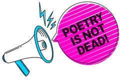 Die Schreibensanmerkung, die Poesie zeigt, ist nicht tot Das Geschäftsfoto, das ästhetisches und rhythmisches Schreiben zur Schau vektor abbildung